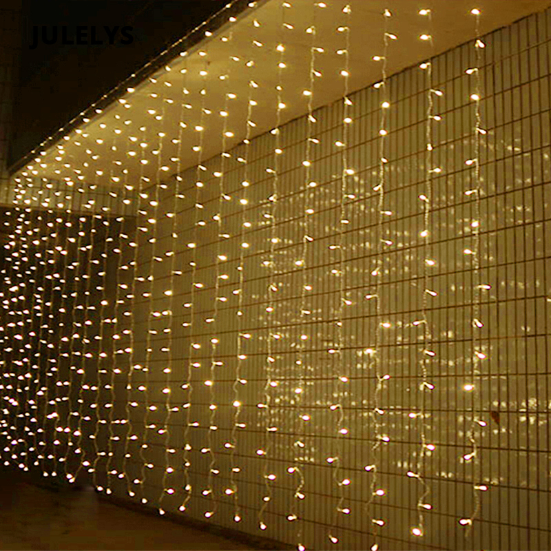 JULELYS 6M x 5M 960 Bulbs LED Curtain Window String Lights Decoration For Holiday Party Wedding Lights Christmas Garland Outdoor 5m 28leds snowflake led string lights christmas holiday lighting for the curtain bedroom party wedding decoration