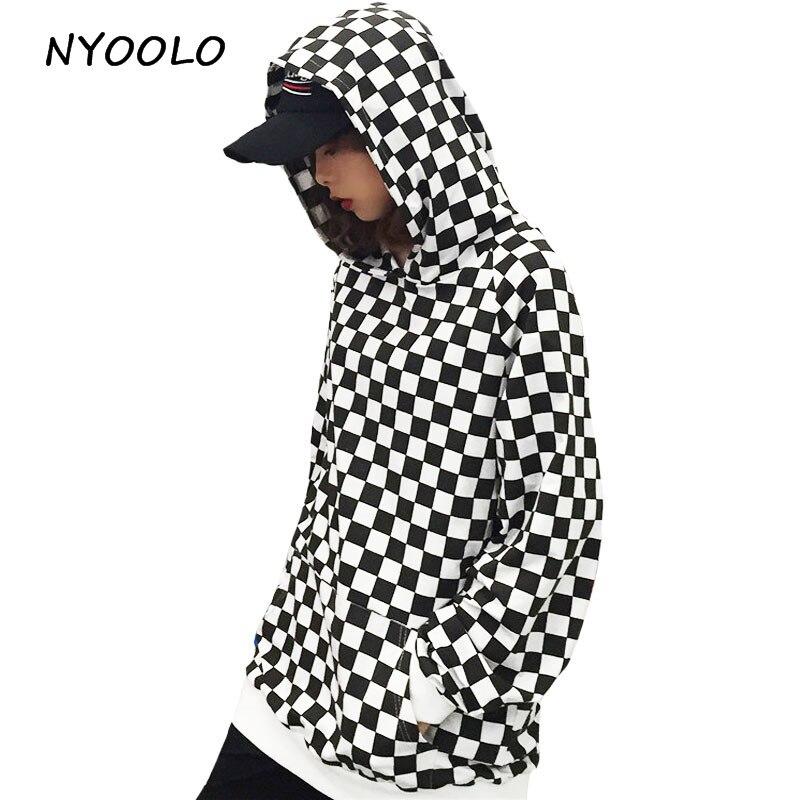 NYOOLO Black White Plaid Hoodies Fashion Design Long Sleeve Pullovers Hooded Sweatshirt Women/men Clothing Streetwear