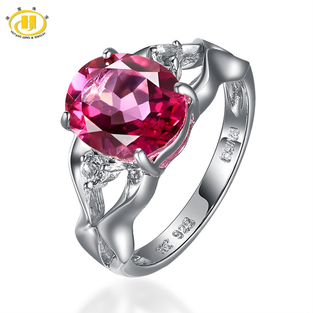 Hutang New Fashion Rings 3.97ctw Pink Topaz Ring Solid 925 Sterling Silver Genuine Gemstone Fine Jewelry Women
