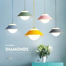 Macaron Nordic Post Modern Dinningroom Pendant Light Modern Simple Personality Macaron lamp Droplight Foyer Bedroom Hanging Lamp macaron