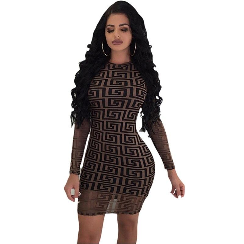062a544e1ee Vogue women Long sleeve Paisley pattern Sexy Club dress female sheath Slim  Bodycon Mini dress night club wear black-in Dresses from Women s Clothing  on ...