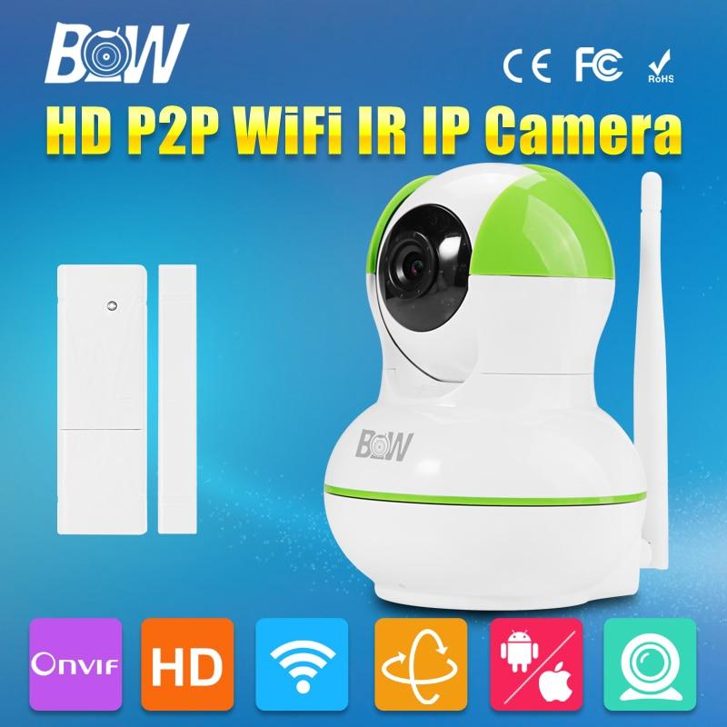 ФОТО BW HD 720P IP Camera P2P Pan IR Cut WiFi Wireless with Door Sensor Automatic Alarm System P/T Network Surveillance Security CCTV