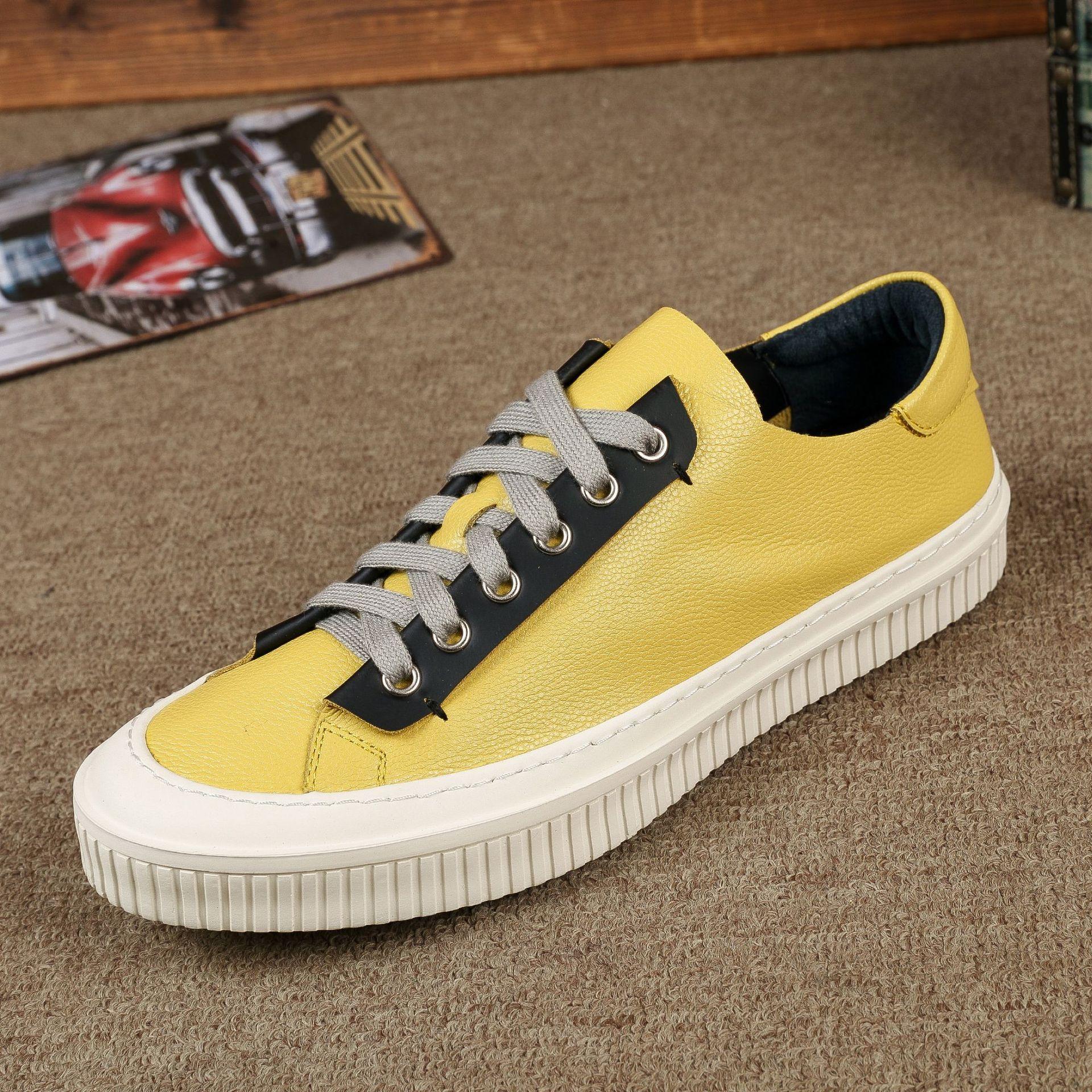 Véritable Occasionnels Printemps Noir Respirant Chaussures Cuir Vache jaune allumette 2018 Hommes Nouveau Sneaker Mode Loisirs Tout blanc De UwwIx0