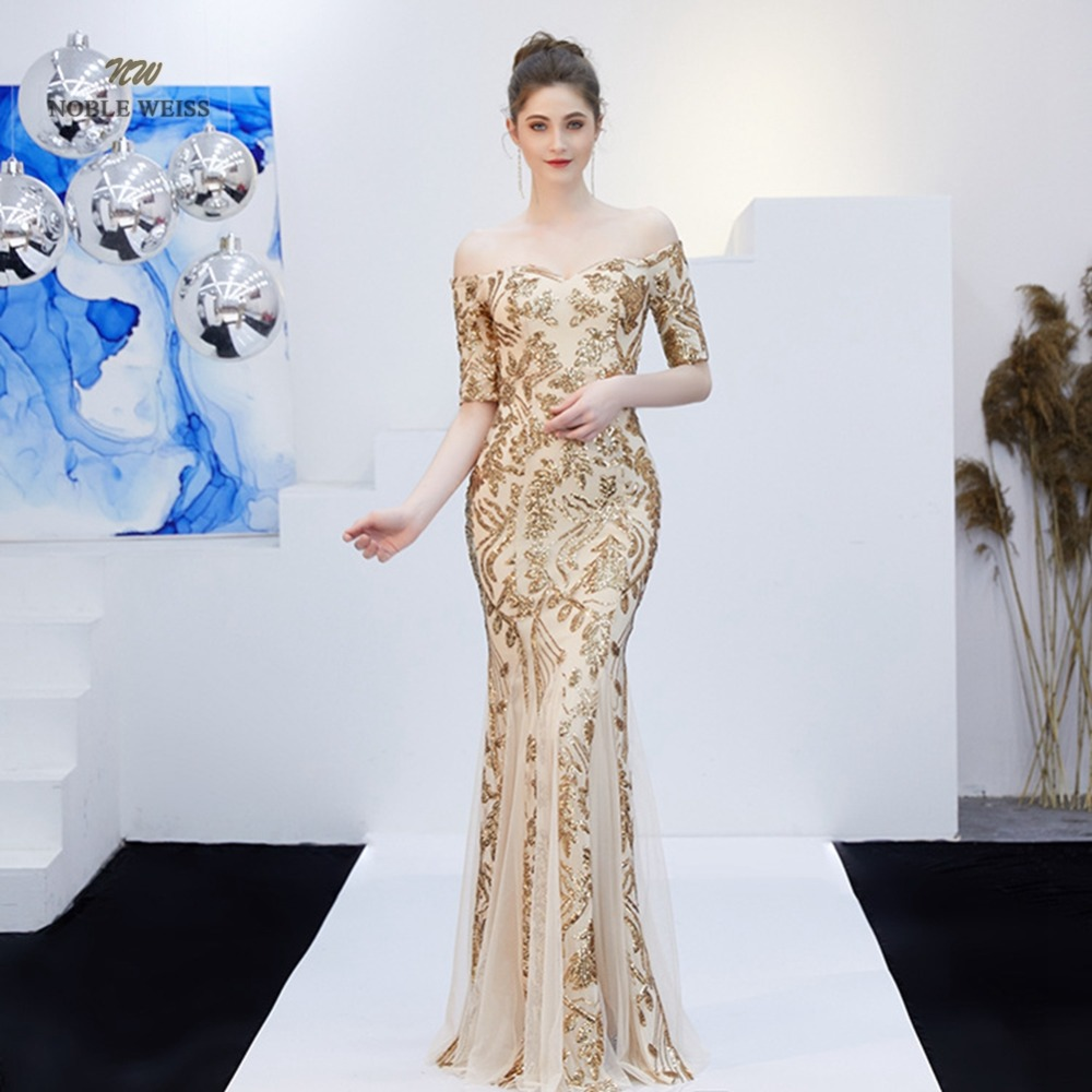 prom     dresses   2019 boat neck   prom     dress   sexy sequin vestidos de gala zipper back mermaid floor length   prom   gown with sleeves
