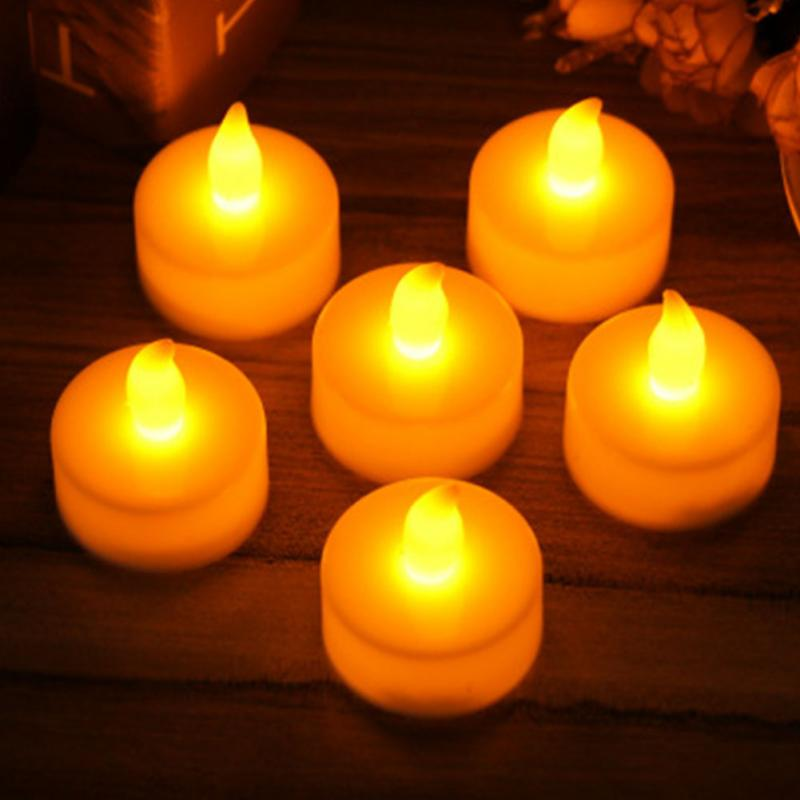 12pcs Electric LED Light Candles Realistic Battery-Powered Flameless Candles Decorations Light Stylish Party Supplies LED Candle