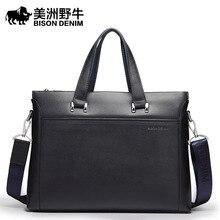 BISON DENIM Handbag Men Shoulder Bags Brand Genuine Leather Briefcases Tote Bag Business Men's Messenger Bag Casual Travel Bag