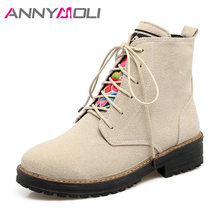 ANNYMOLI Women Winter Boots Embroidery Flat Ankle Boots Lace Up Martin Boots 2017 Autumn Shoes Yellow Green Large Size 9 42 43