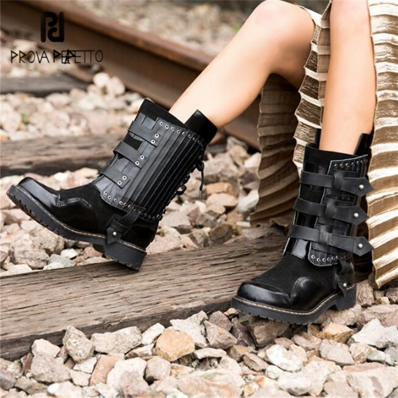 Prova Perfetto Fashion Women Martin Boots Belt Buckle Women High Boot Rivet Studded Flat Botas Mujer Platform Rubber Shoes Woman prova perfetto punk style women martin boots platform flat botas mujer straps buckles rubber shoes woman knee high boots