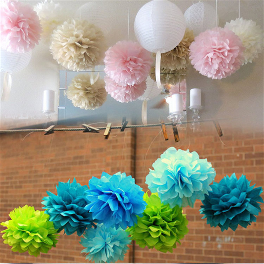 Free Shipping 150 Pcs 8 Multi Color Tissue Paper Pom Poms Paper