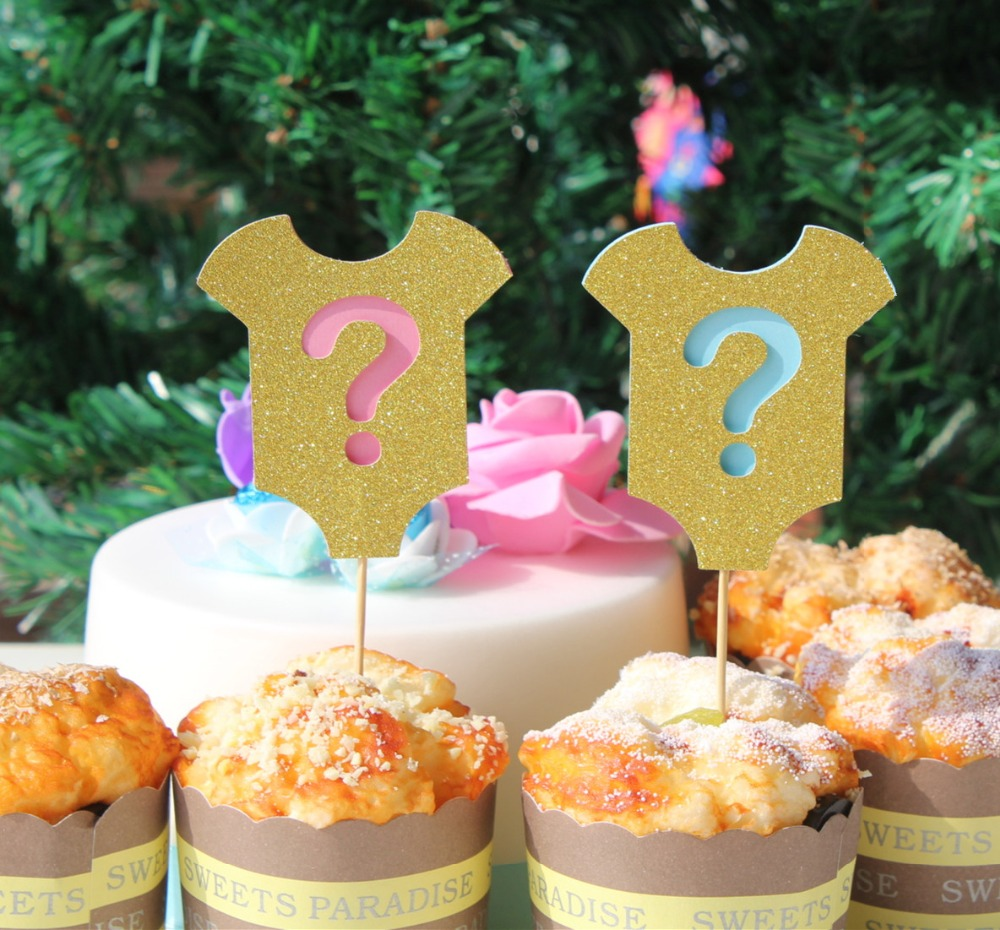 16 Gender Reveal party Cupcake Toppers Pink Blue Question Mark party decoration kits baby shower its a girl or boy