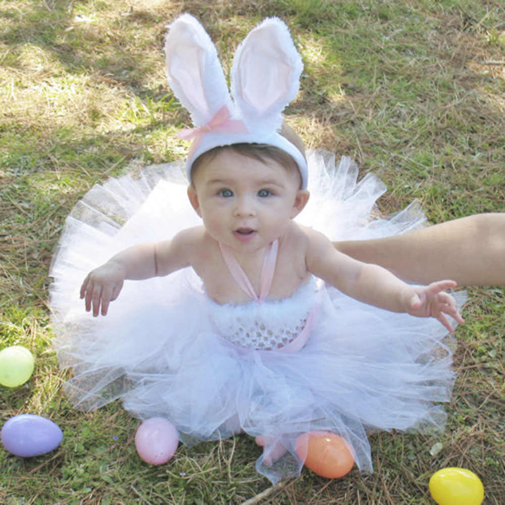 fed1cda5dbb2 ... Spring Girl Easter Bunny Dress Toddler Baby White Feather Rabbit  Cosplay Celebrate Custom With Pink Ear ...