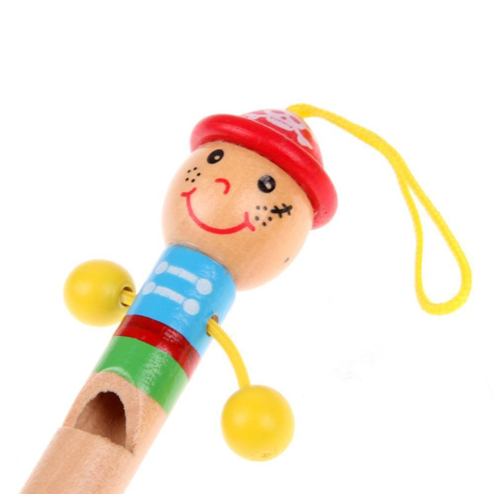 1pc Cartoon Mini Musical Instruments Figure Modeling Wooden Whistling Toys Christmas Gift