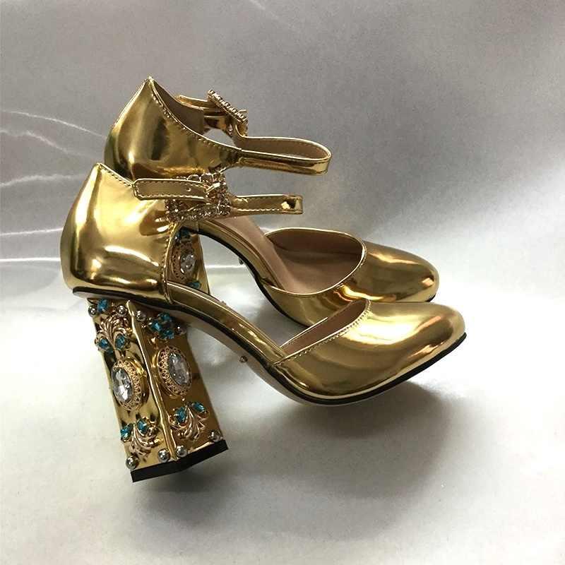 VIISENANTIN Özelleştirilmiş 2019 Taş Rhinestone Elmas Kalın Topuk Sandalet Altın Gümüş Hollow Kemer Tokası Retro Saray Ayakkabı