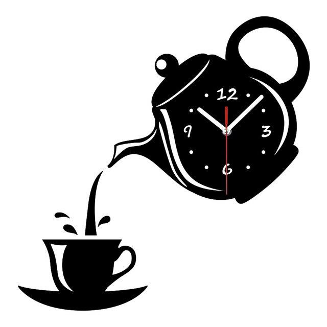 Criativo DIY Acrílico Relógio de Parede Xícara de Café Bule 3D Decorativos Relógios De Parede Da Cozinha Sala de estar Sala de Jantar Decoração Da Casa Do Relógio 039