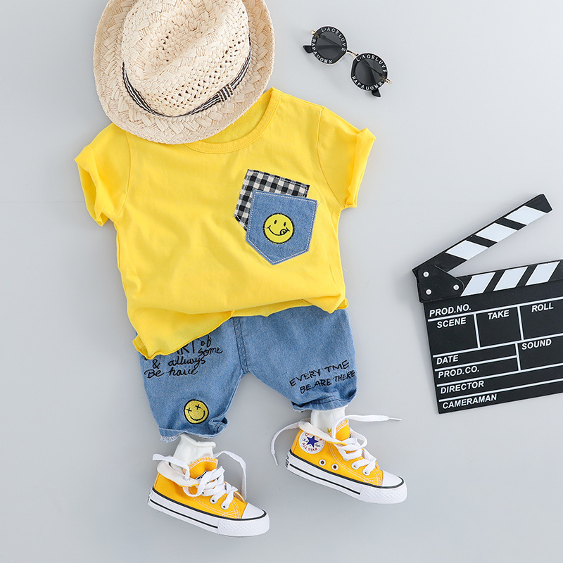 Fashion Baby Set For Girl Clothes Set Short Sleeve T shirt Jeans Shorts 2pcs Baby Suit Summer Cotton Casual Newborn Boy Outfit in Clothing Sets from Mother Kids