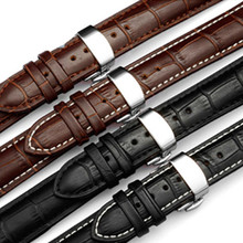 Genuine Leather Watchband With Butterfly Buckle Bands Croco Grain Bracelet for Watch sized in 16 18 19 20 21 22 24 mm цена