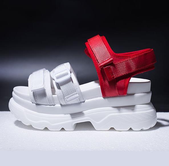2018 Sandales Dames D'été Ouvert rouge Femmes Confortable Plat À Épais Concis Noir Femme Bout Crochet Boucle Fond Chaussures EICqUvwI