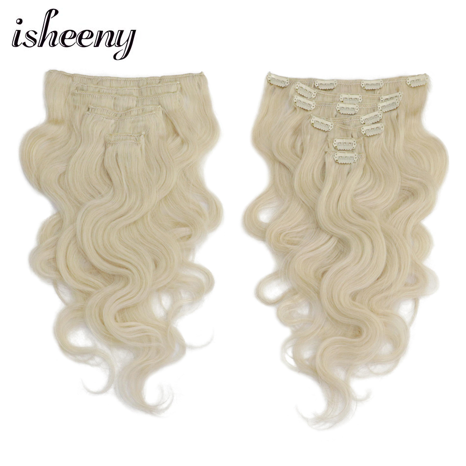 Isheeny Hair-Extensions Human-Hair Clip-In Remy 14-18-Wavy Body 7pcs/Set title=