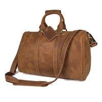 JMD Men's Big Capacity Genuine Leather Travel Bag Durable Leather Travel Duffel Leather Large Shoulder Weekend Bag