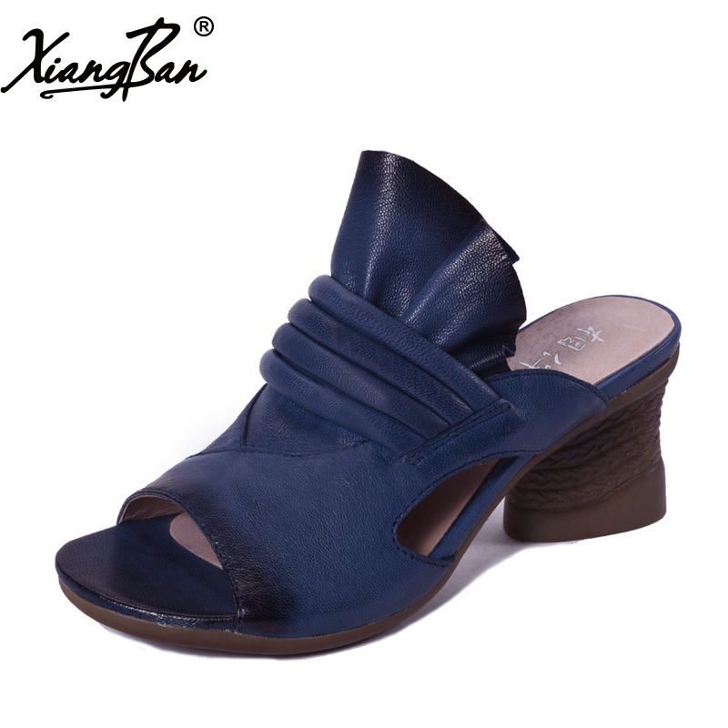 Brand High Heel Sandals Women Slippers Flip Flops Peep Toe Summer Ladies Shoes Soft Leather Handmade Xiangban 2018 new high end leather comfortable feet sandals classic sandals handmade leather slippers handmade leather slippers