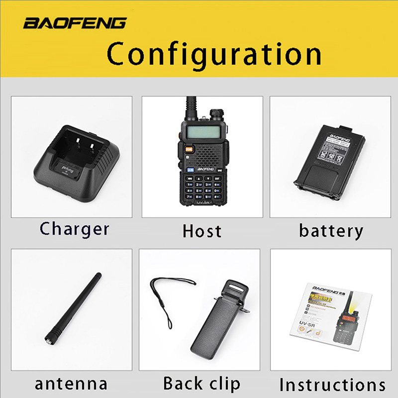 Image 5 - (2 PCS)Baofeng UV5R Ham Two Way Radio Walkie Talkie Dual Band Transceiver (Black)-in Walkie Talkie from Cellphones & Telecommunications