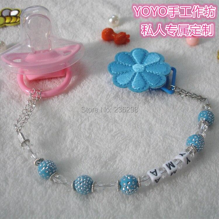 2015 nieuwe handgemaakte blauwe crystalin bling kralen dummy clip houder fopspeen clips baby fopspeen keten en bijtringen clip voor baby