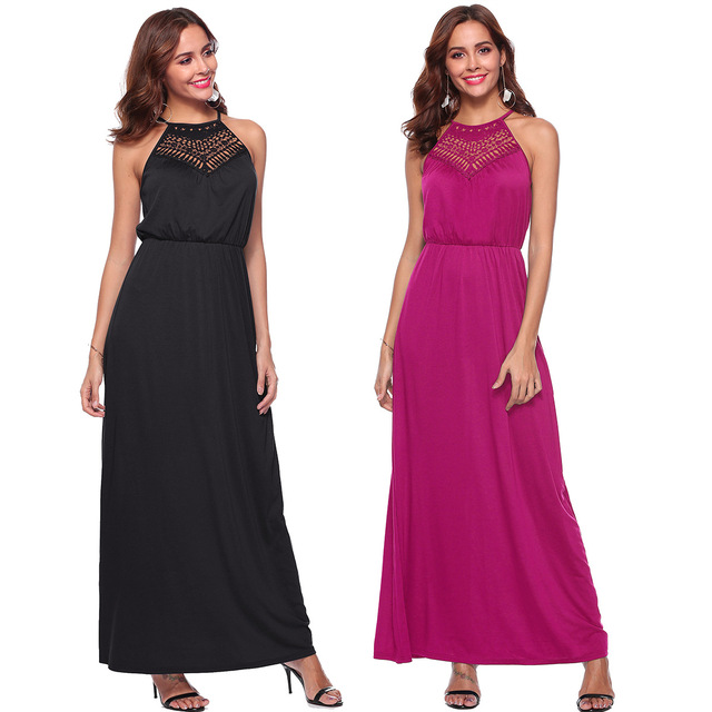 Tall Women Summer Dress Lace Stitching Beach Party Maxi Dress Brand Black  Red Halter Neck Long Dresses Feminine Vestidos Festa e6aca779754f