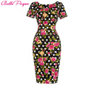 Womens Bodycon Dresses 2016 Spring Summer Short sleeve sexy club Party Dress Vintage Floral Flower Print Pencil Office dresses