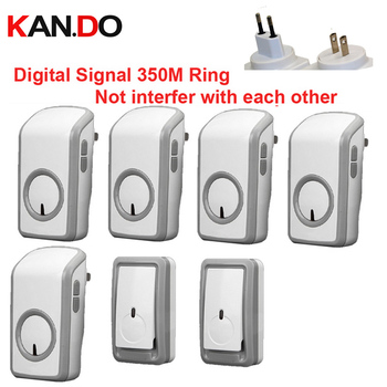bell kits with 2 emitters+5 receiver wireless doorbell Waterproof 380 Meter door chime 48 melodies door ring digital signal