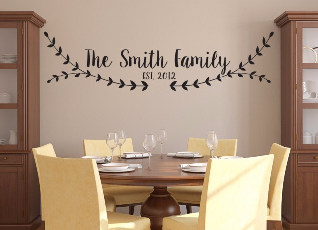 Personalized Family Name Wall Sticker Living Room Dining Room Decor  Established Date Family Vinyl Wall Decal