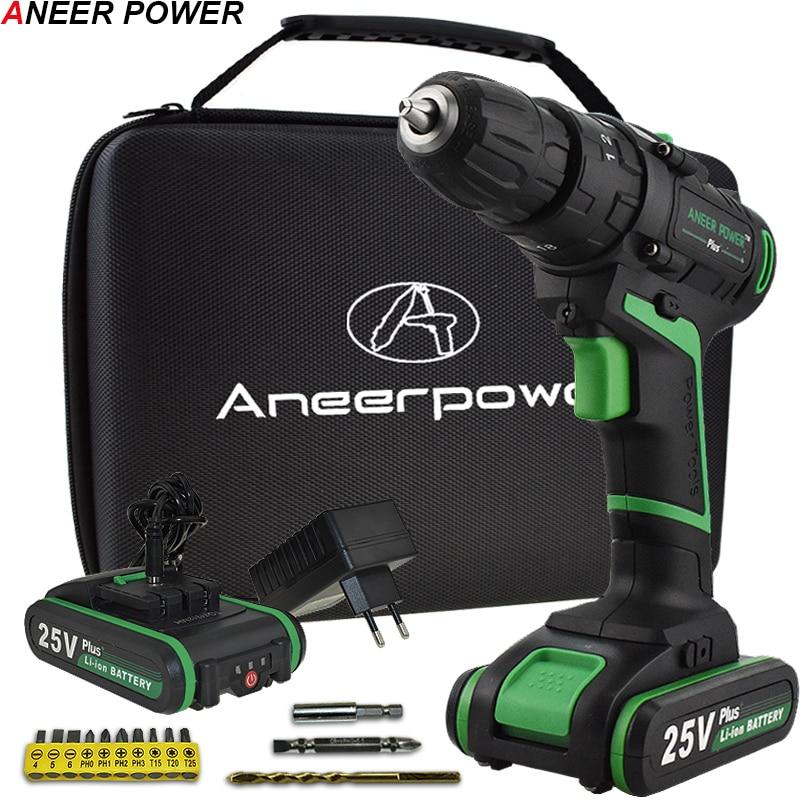 Neue Stil 25 v Auswirkungen Bohrer Elektrische Hand Bohrer Batterie Cordless Hammer Bohrer Elektrische Schraubendreher Hause Diy Power Werkzeuge + woven Tasche