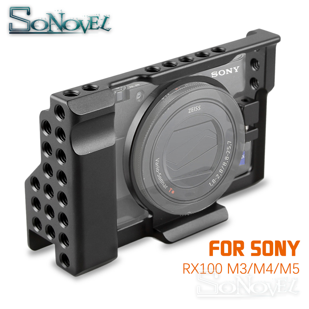Aluminum Alloy <font><b>RX100</b></font> Camera Cage Kit for Sony <font><b>RX100</b></font> III IV V Camera Stabilizer for Sony <font><b>RX100</b></font> M3 M4 M5 Camera frame image