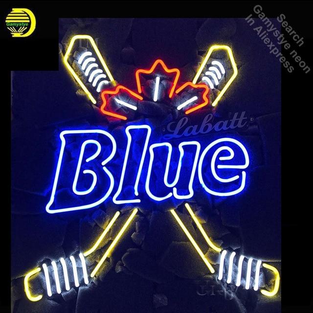 Neon Sign for Blue Labatt Hockey Neon Light Sign Advertise Display Pirate Sport Neon Tube Sign handcraft Publicidad lamps Custom