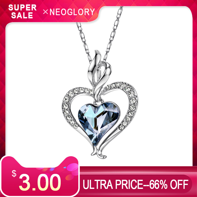 Neoglory Austria Crystal & Rhinestone Long Pendant Charm Necklace Romantic Blue Love Heart Lady Valentines Memorial Gift SaleNeoglory Austria Crystal & Rhinestone Long Pendant Charm Necklace Romantic Blue Love Heart Lady Valentines Memorial Gift Sale