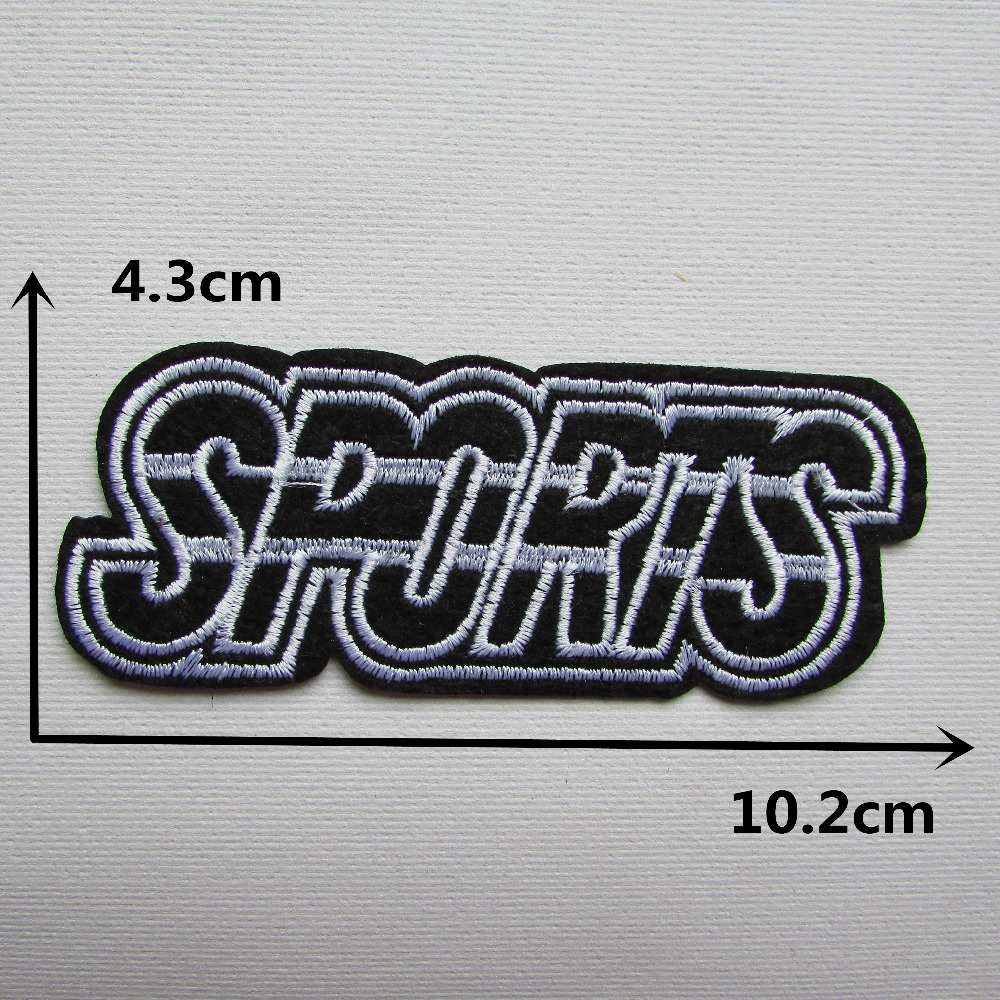 Black and white sports ornament hot melt adhesive clothing patches stripes applique embroidery blossom diy accessories