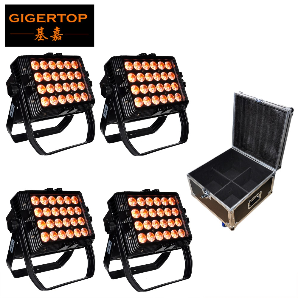 4IN1 Road Case Pack 24 X 18W Led Flood Light Outdoor Floodlight Spotlight IP65 Waterproof 110V-220V DMX512 Control 6/10 Channels