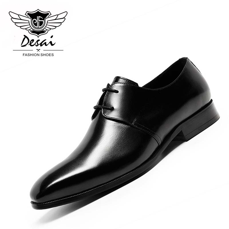 DESAI 2018 Men's Luxury Genuine Leather Shoes Fashion Business Dress Shoes Lace Up Square Toe Formal Shoe for Man Size 37-44 hot sale mens genuine leather cow lace up male formal shoes dress shoes pointed toe footwear multi color plus size 37 44 yellow