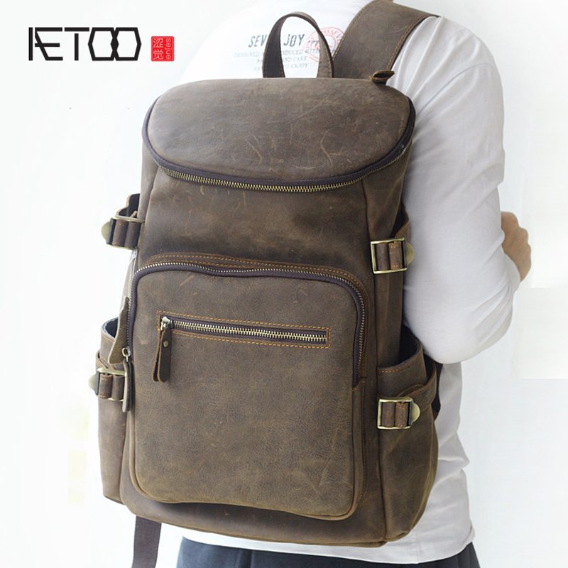 AETOO Europe and the United States trend of multi-functional large-capacity practical travel men's leather bag retro leather sho europe and the united states style first layer of leather lychee handbag fashion retro large capacity solid business travel bus