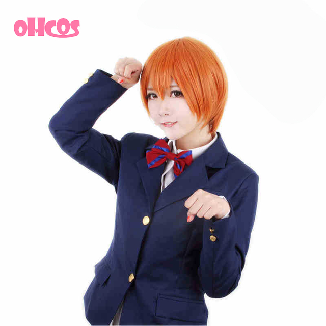 OHCOS Anime Love Live Hoshizora Rin Orange 35CM Short Cosplay Wig