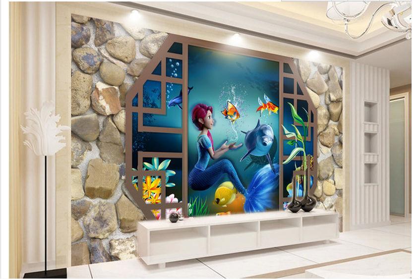 Us 1284 51 Offcustomized 3d Wallpaper 3d Wall Murals Wallpaper Cartoon Mermaid Stereo Aquarium Tv Background Wall Paper Living Room Wallpaper In