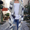 FUNOC 2017 Autumn Winter Women Open Stitch Sweater Cotton Plaid V neck Long Cardigan Coat Loose Casual Streetshot Outwear ouvert
