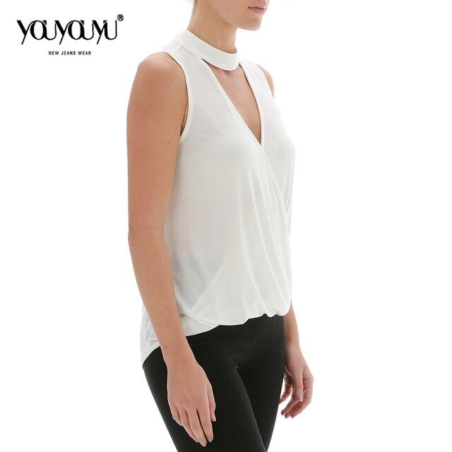 2017 chaleco de Verano de Las Mujeres Venta Caliente de La nueva alta calidad de la manera Simple color Sólido de punto de Cuello Irregular de La Personalidad 1001