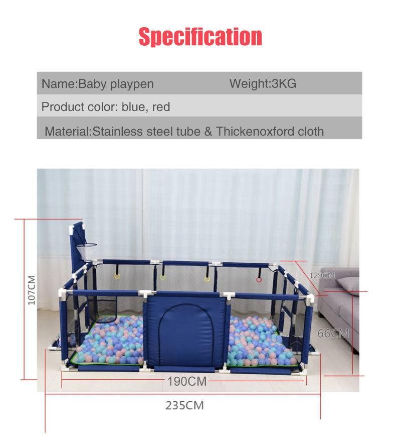 Baby Playpen Made With Stainless Steel Tube For Baby Pool Balls 9