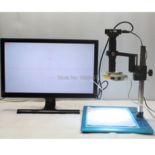 Buy online HDMI VGA Dual Output Industrial Microscope Measurement Camera+300*400mm Precision Trim Base+200X Fine-tuning Lens Bracket+LED
