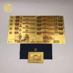 10 шт./лот красочные российские копии банкнот 500 рублей банкноты в 24k позолоченные пластиковые деньги для коллекционирования и подарков