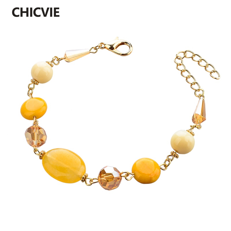CHICVIE Yellow Color Chain Natural Stone Bead Bracelets