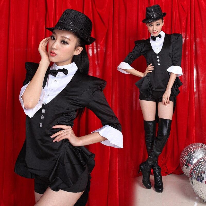 Mode Star Costume Chanteuse DS Costume De Danse Jazz Noir Blanc Couleur Bloc Formelle Dress Smoking Costume Dress Jazz
