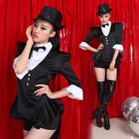 Mode Star Costume Chanteuse DS Costume De Danse Jazz Noir Blanc Couleur Bloc Formelle robe fumant costume robe Jazz