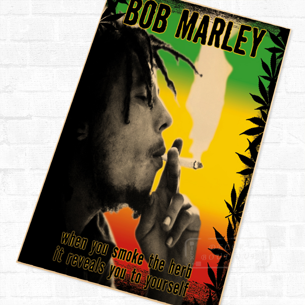 Smoking The Herb, Bob Marley Vintage Retro Poster Decorative DIY ...