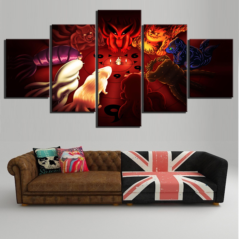 5 Piece Anime Naruto The Sage of The Six Paths Tailed Beasts HD Wall Pictures Canvas Painting for Living Room Decor 1